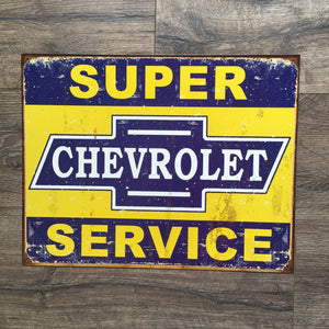 Vintage Look Chevrolet Super Service Tin Tacker Metal Sign