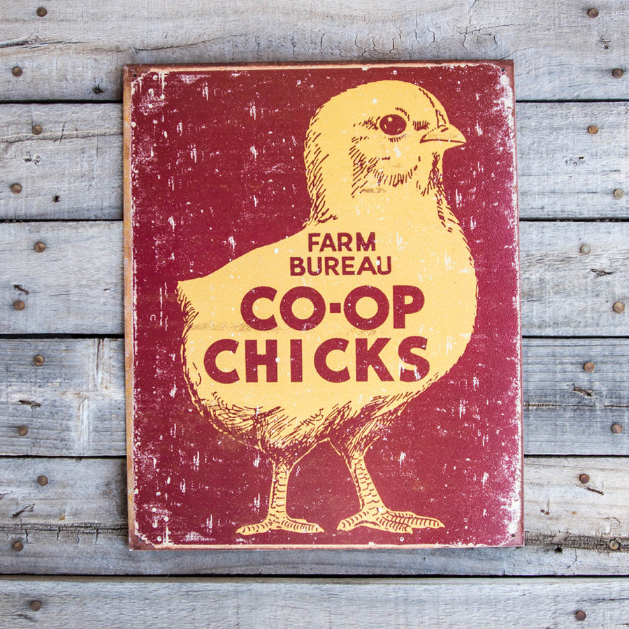 Vintage Look Farm Bureau Co-Op Chicks Tin Tacker Metal Sign