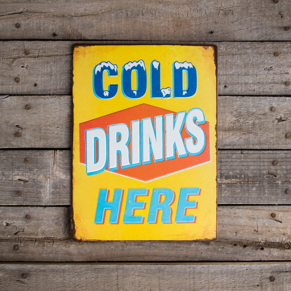 Vintage Look Quot Cold Drinks Here Quot Metal Beer Sign Tin Tacker