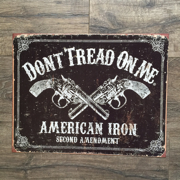 "Vintage Look ""Don't Tread on Me"" American Iron Second 2nd Amendment Metal Sign Tin Tacker"