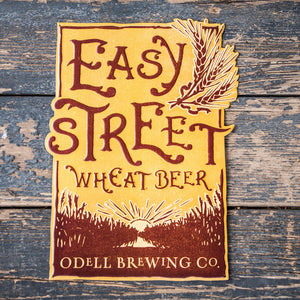 "Odell Brewing Co ""Easy Street Wheat Beer"" Tin Tacker Metal Beer Sign"