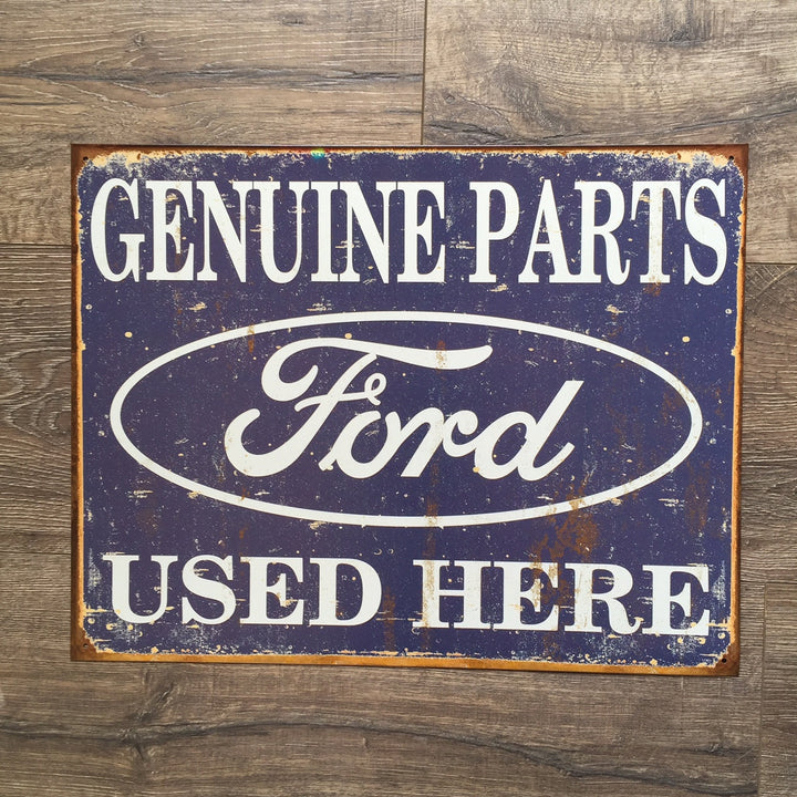 Vintage Look Ford Genuine Parts Used Here Metal Sign Tin Tacker