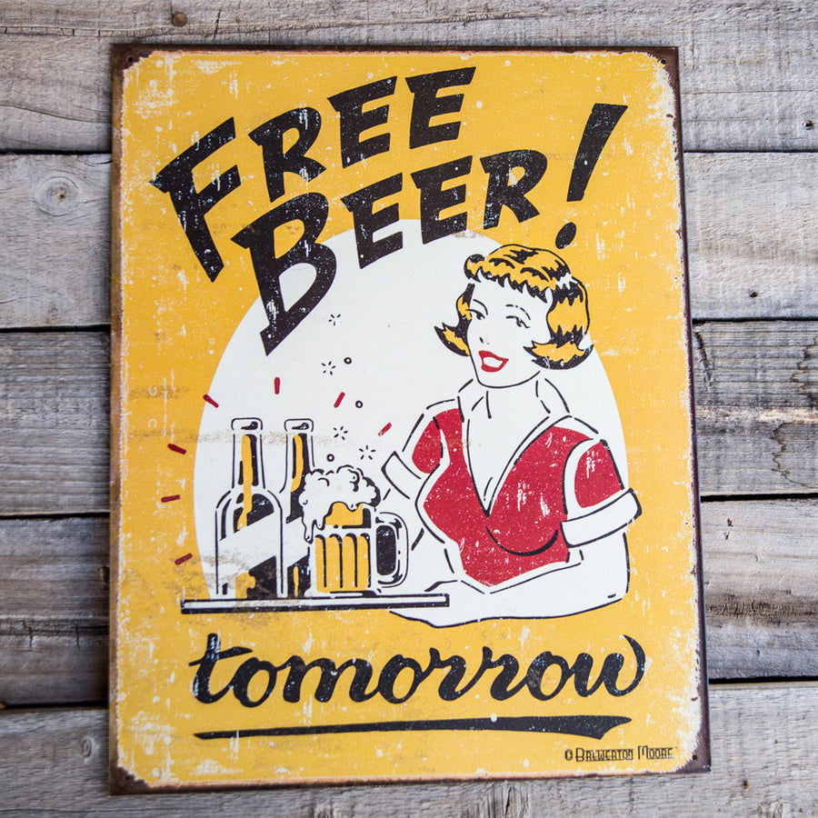 "Vintage Look ""Free Beer Tomorrow"" Metal Beer Sign Tin Tacker"