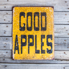 Vintage Look Good Apples Tin Tacker Metal Sign