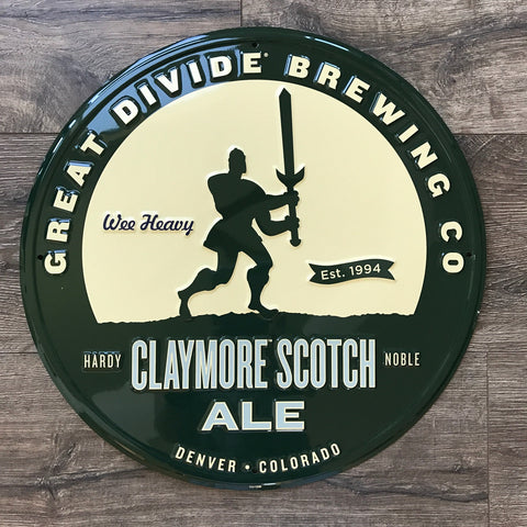 Great Divide Brewing Co Claymore Scotch Ale Tin Tacker Metal Beer Sign