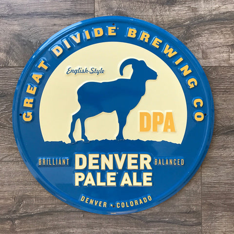 Great Divide Brewing Co Denver Pale Ale Tin Tacker Metal Beer Sign