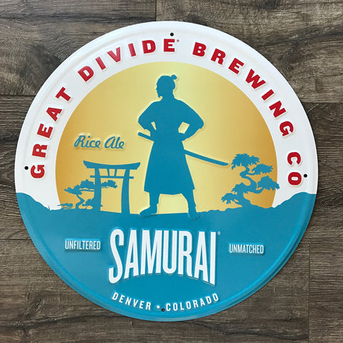 Great Divide Brewing Co Samurai Tin Tacker Metal Beer Sign