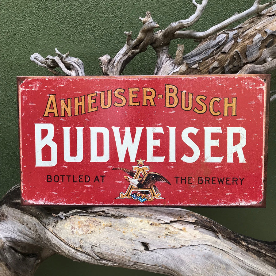 "Vintage Look Annheuser-Busch Budweiser ""Bottled at the Brewery"" Metal Beer Sign Tin Tacker"