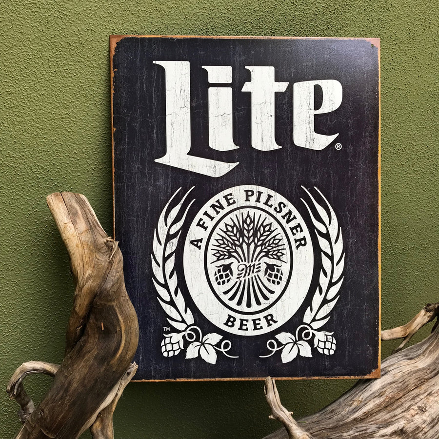 Vintage Look Miller Brewing Co Lite Logo Tin Tacker Metal Beer Sign