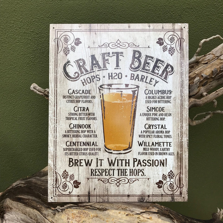 "Craft Beer ""Brew it with Passion"" Aluminum Sign"