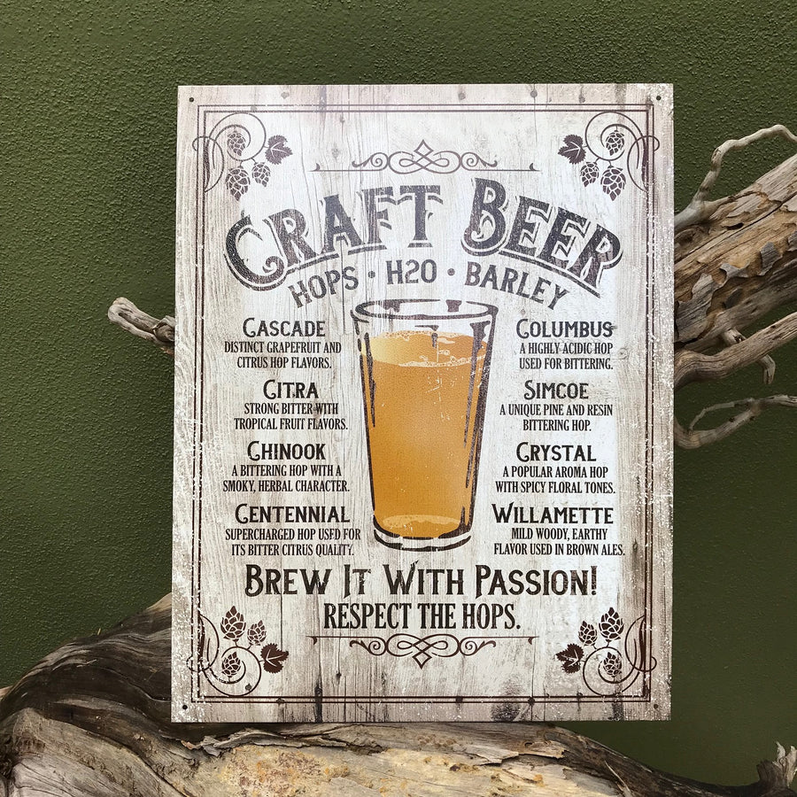 "Craft Beer ""Brew it with Passion"" Tin Tacker Metal Sign Vintage Look"