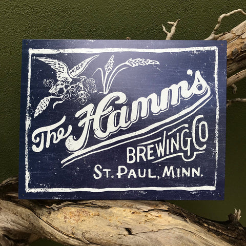 Hamm's Brewing Co Retro Metal Beer Sign Tin Tacker