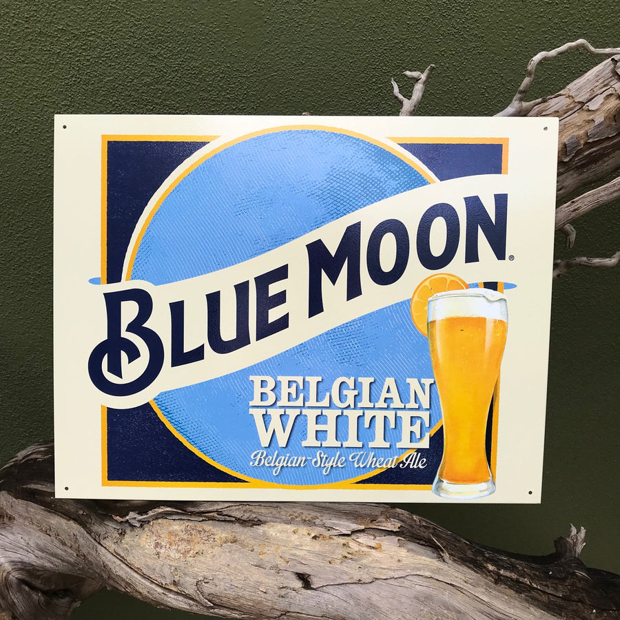 Blue Moon Belgian White Logo Metal Beer Sign Tin Tacker