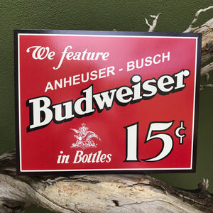 Budweiser Anheuser-Busch Retro Metal Beer Sign Tin Tacker