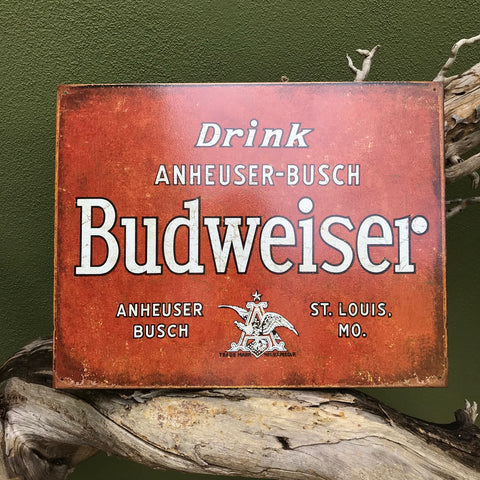 Drink Budweiser Anheuser-Busch Retro Label Metal Beer Sign Tin Tacker