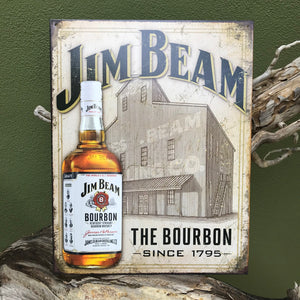 "Jim Beam ""The Bourbon Since 1795"" Tin Tacker Metal Sign Vintage Look"