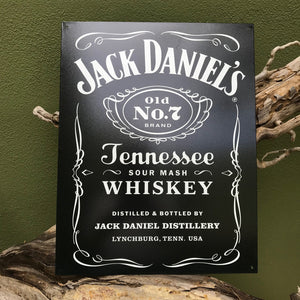 Jack Daniel's Old No. 7 Brand Tennessee Sour Mash Whiskey Logo Tin Tacker Metal Sign