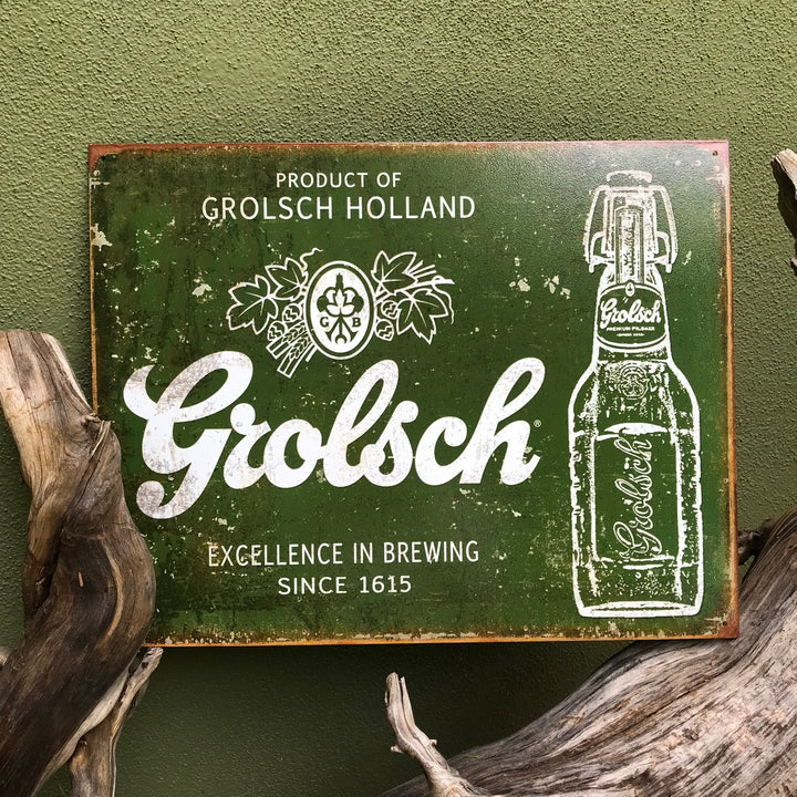 Vintage Look Grolsch Holland Pilsner Excellence in Brewing Tin Tacker Metal Beer Sign