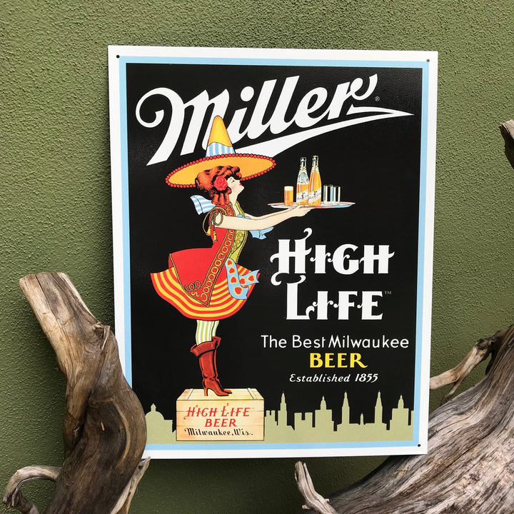 Vintage Look Miller High Life Server Girl The Best Milwaukee Beer Tin Tacker Metal Beer Sign