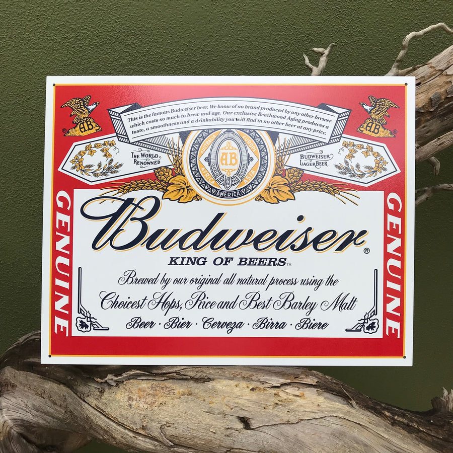 Budweiser King of Beers Label Metal Beer Sign Tin Tacker