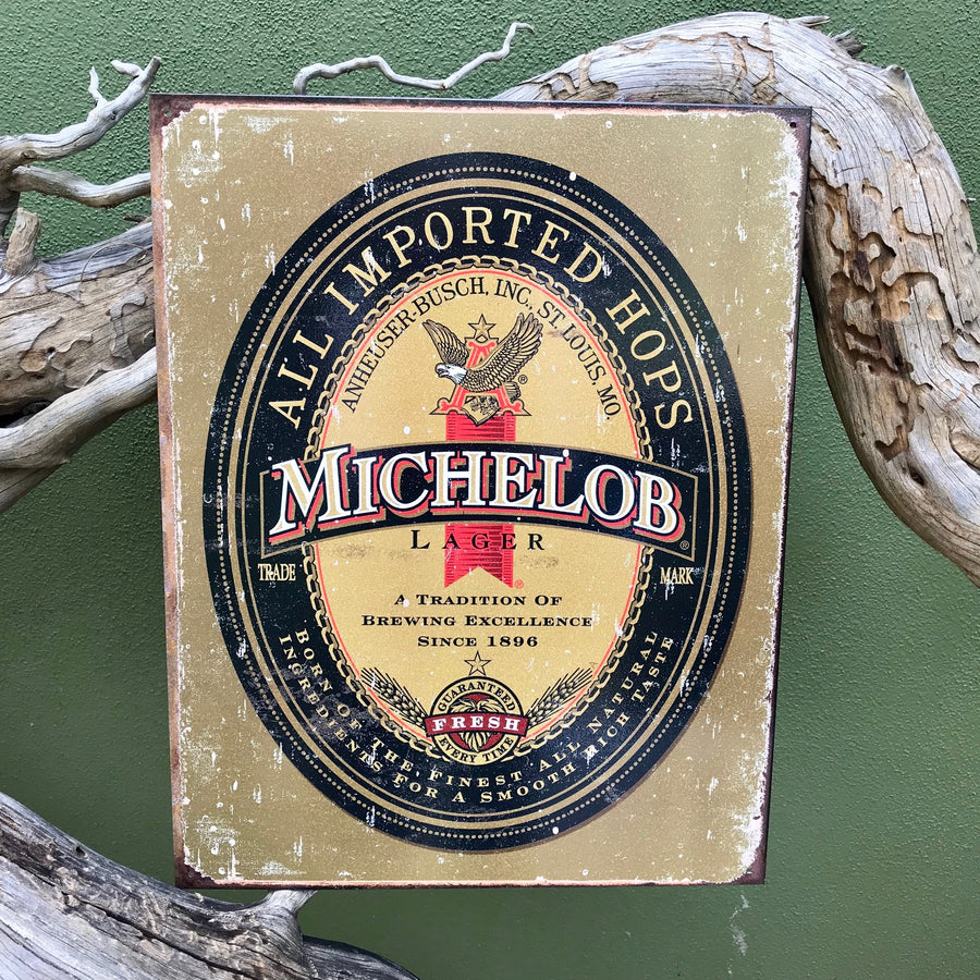 Michelob Lager Anheuser-Busch Retro Metal Beer Sign Tin Tacker Vintage Look