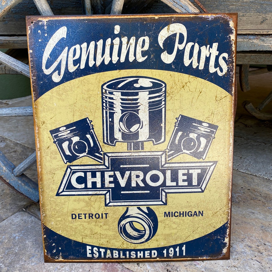 "Vintage Look ""Genuine Parts Chevrolet"" Tin Tacker Metal Sign"