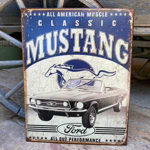 Classic Mustang Ford All American Muscle Metal Sign Tin Tacker