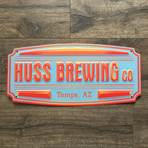 Huss Brewing Co Shield Logo Tin Tacker Metal Beer Sign