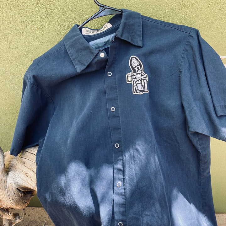 Men's Work Shirt Size M with Rogue Dead Guy Ale Embroidered Patch