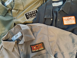 Men's Vintage Work Shirt with Customized Embroidered Brewery Patch