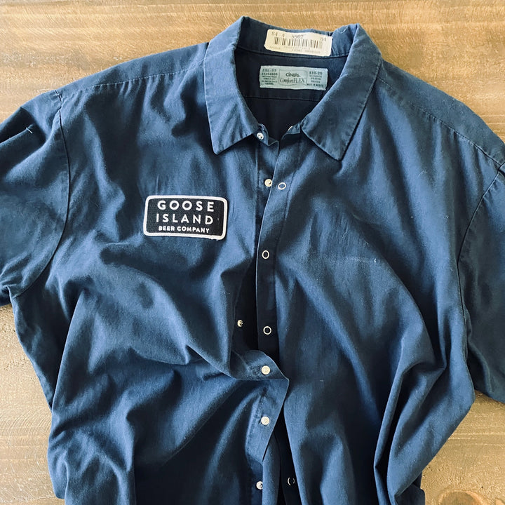 Men's Work Shirt Size XXXL (3XL) with Goose Island Beer Co Embroidered Patch