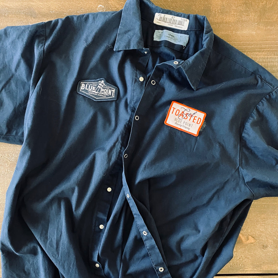 Men's Work Shirt Size XXXL (3XL) with Blue Point Brewing Co Embroidered Patches