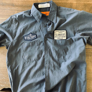 Men's Work Shirt Size L with Blue Point Brewing Co Embroidered Patches