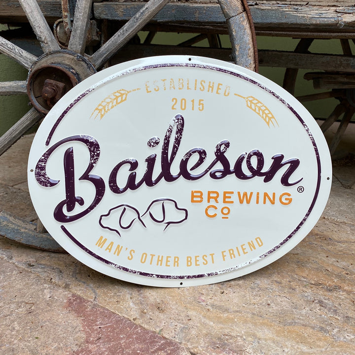 "Baileson Brewing Co ""Man's Other Best Friend"" Tin Tacker Metal Beer Sign"