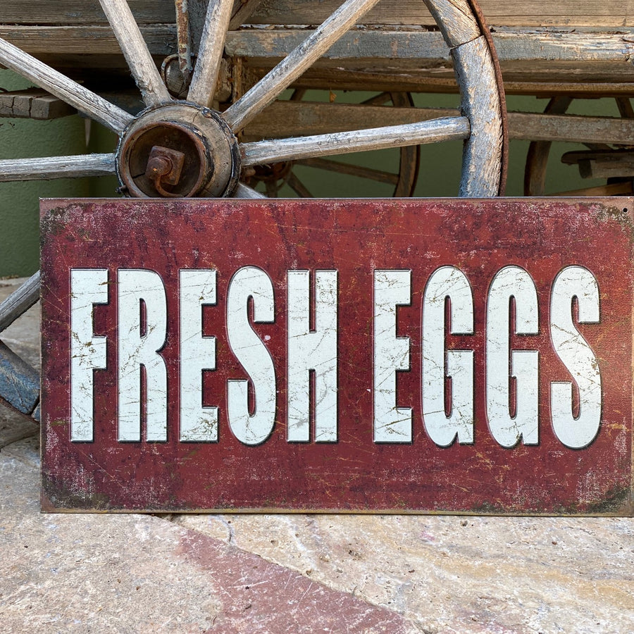 Vintage Look Fresh Eggs Tin Tacker Metal Sign