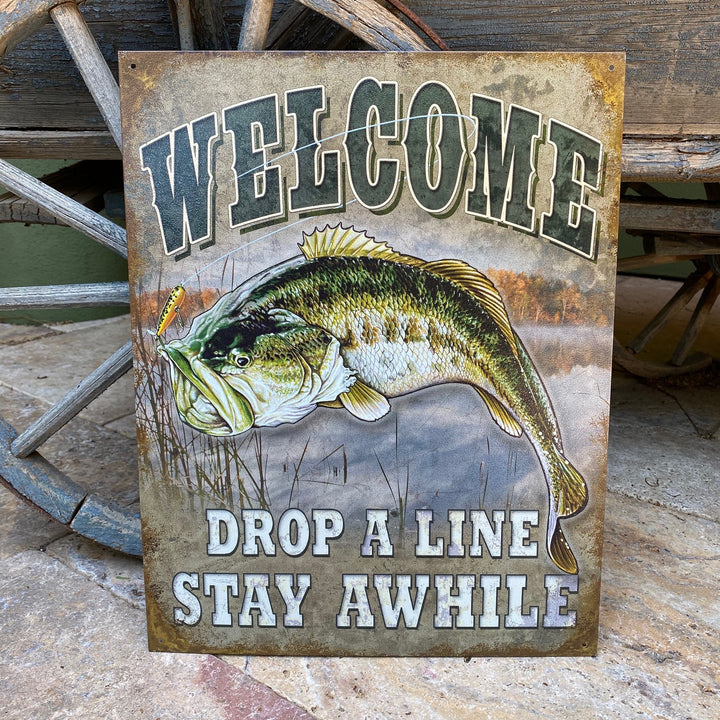 "Vintage Look ""Welcome / Drop a Line / Stay Awhile"" Metal Sign Tin Tacker"