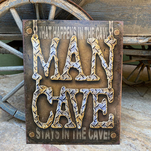 "Vintage Look Man Cave ""What Happens in the Cave Stays in the Cave"" Metal Sign Tin Tacker"