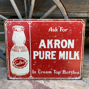 Vintage Look Akron Pure Milk Tin Tacker Metal Sign