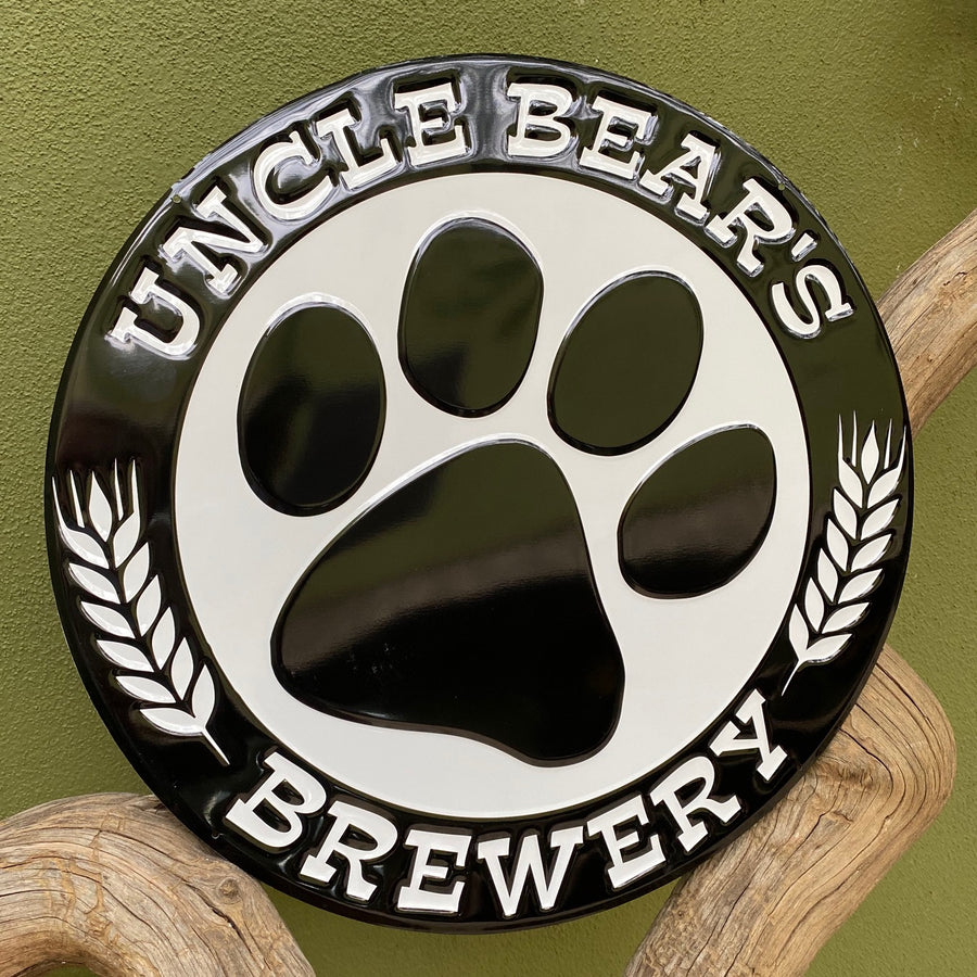 Set of 2 Uncle Bear's Brewery Logo and Tio Oso's Mexican Lager Tin Tacker Beer Signs