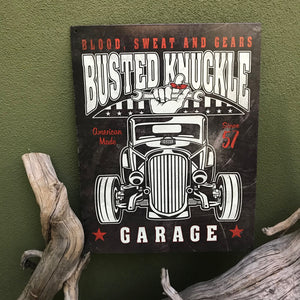 "Vintage Look ""Busted Knuckle Garage"" Metal Sign"