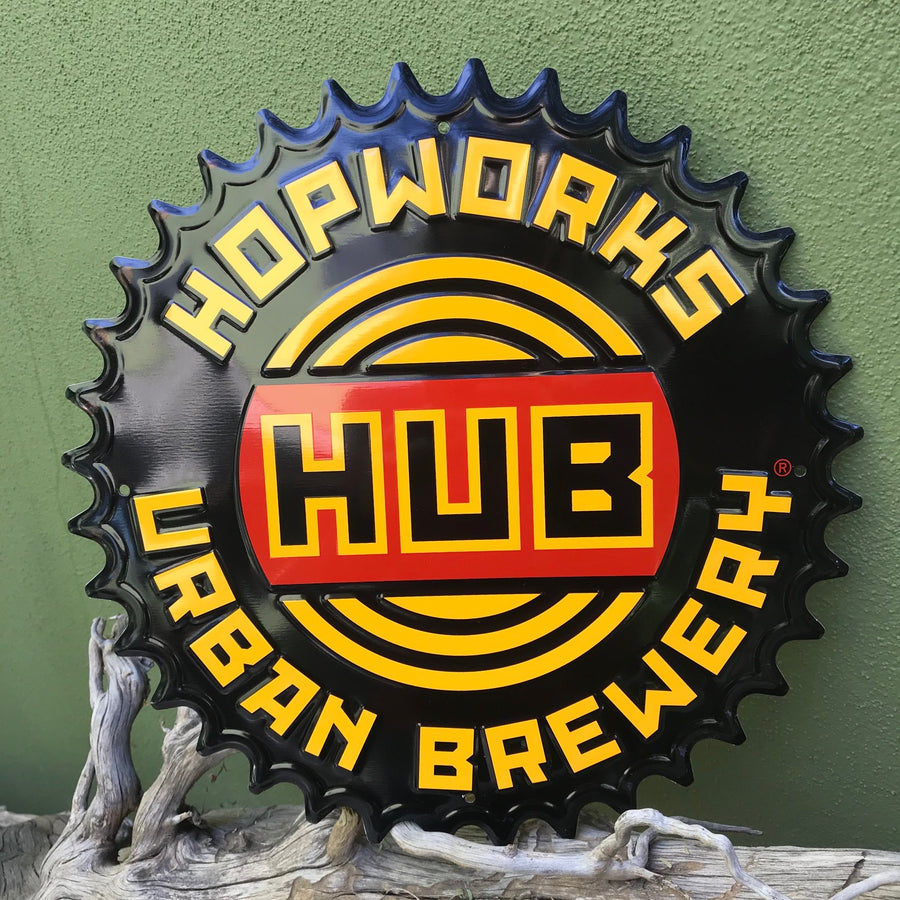 Hopworks Urban Brewery HUB Sprocket Logo Metal Beer Sign Tin Tacker