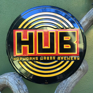 Hopworks Urban Brewery HUB Logo Metal Beer Sign Tin Tacker
