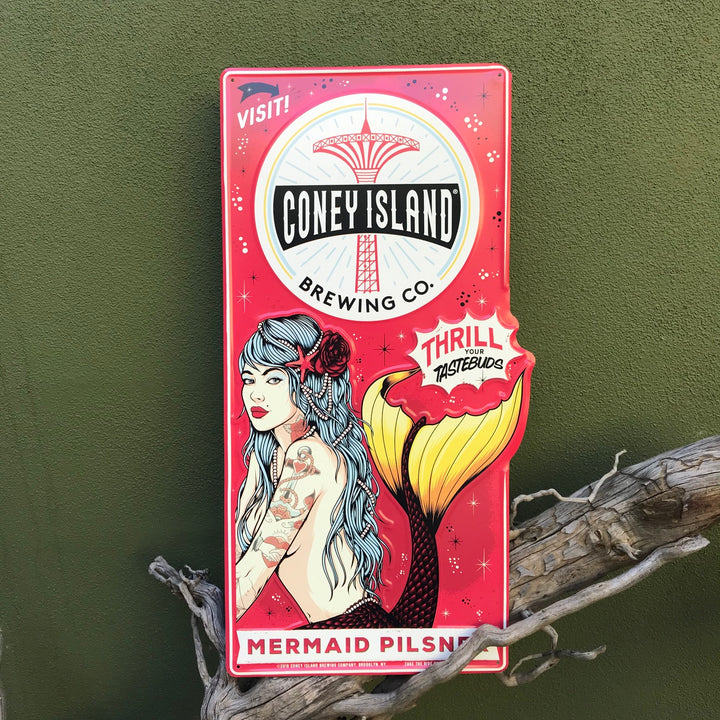 Coney Island Brewing Co Mermaid Pilsner Tin Tacker Metal Beer Sign