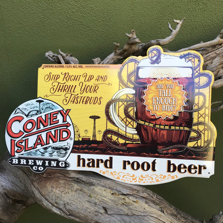 Coney Island Brewing Co Hard Root Beer Tin Tacker Metal Beer Sign