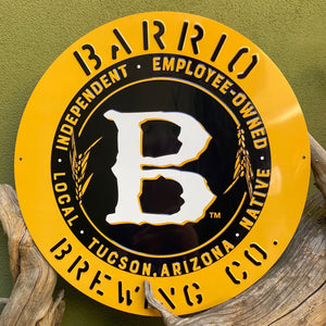 Barrio Brewing Co Yellow Logo Tin Tacker Metal Beer Sign