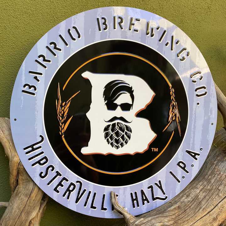 Barrio Brewing Co Hipsterville Hazy IPA Tin Tacker Metal Beer Sign