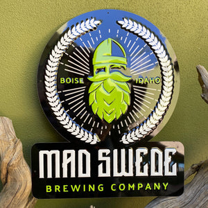 Mad Swede Brewing Co Viking Logo Tin Tacker Metal Beer Sign
