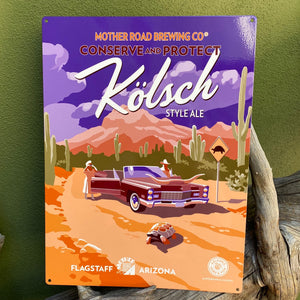 "Mother Road Brewing Co Kolsch ""Conserve and Protect"" Tortoise AZ Game & Fish Tin Tacker Metal Beer Sign"