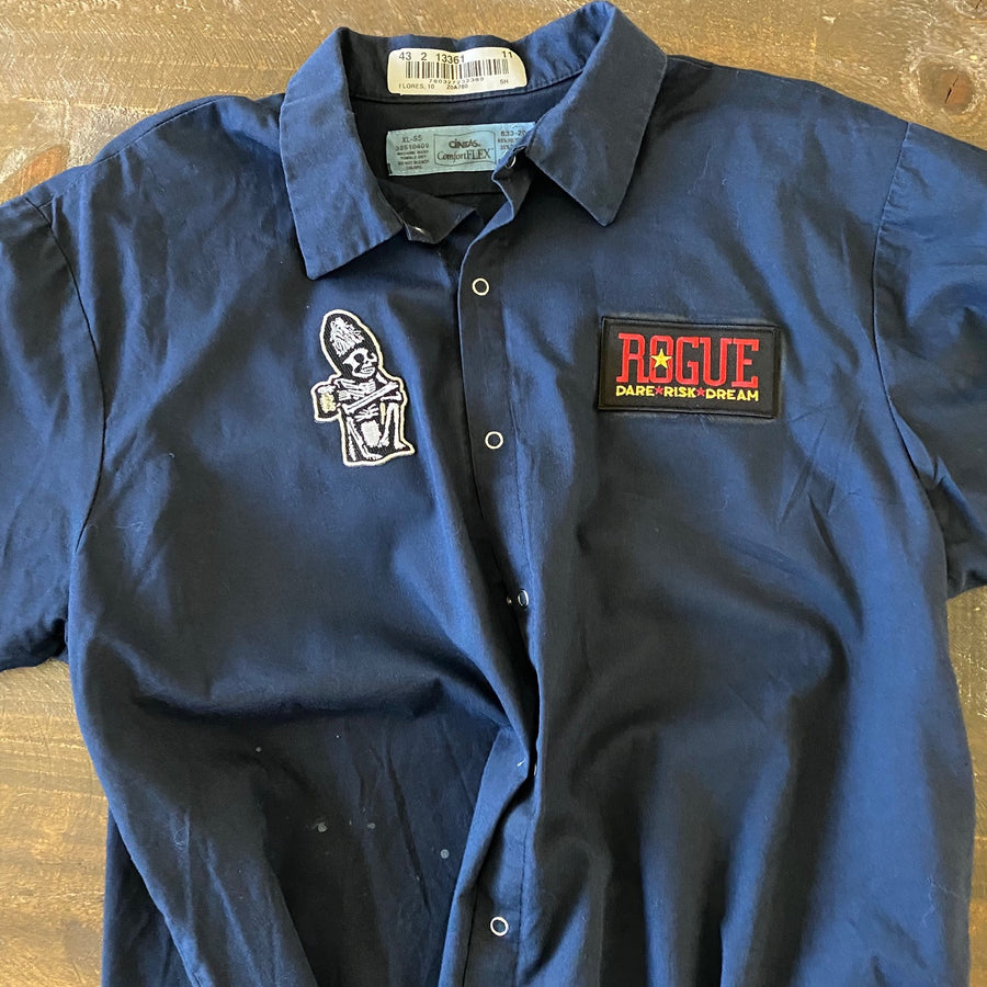 Vintage Men's Work Shirt Size XL with Rogue Ales and Dead Guy Ale Embroidered Patches
