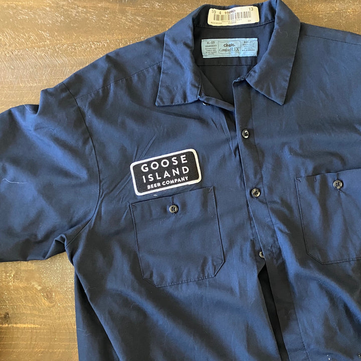 Vintage Men's Work Shirt Size XL with Goose Island Beer Co Embroidered Patch